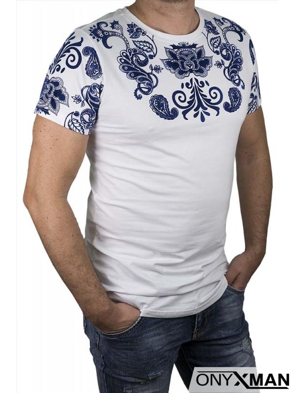 Тениска слимфит със син кадифен принт