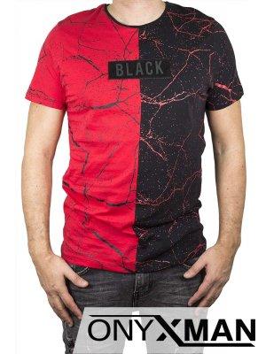 Двуцветна тениска на пръски с червено