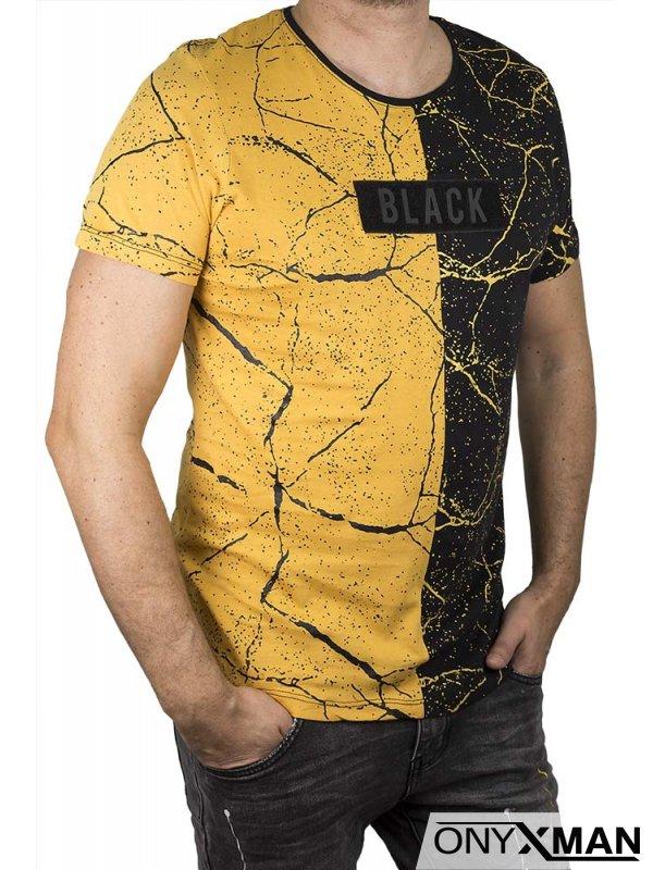 Двуцветна тениска на пръски в горчица