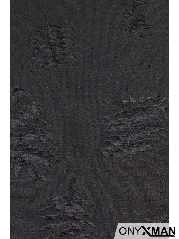 Черен тишърт с листа