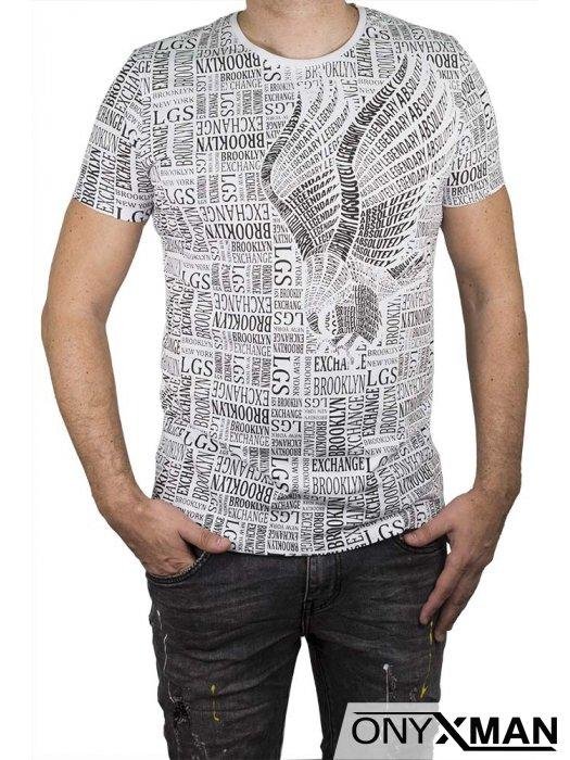 Памучна тениска с черни надписи