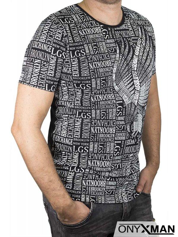 Памучна тениска с бял принт