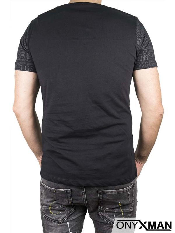 Памучна тениска със сиви букви