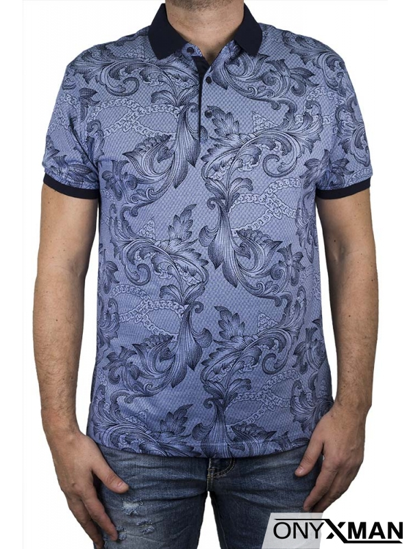 Синя тениска с яка
