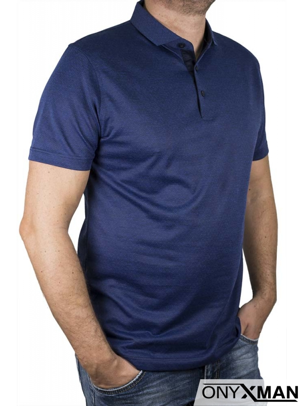 Тениска с яка в синьо