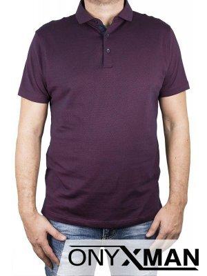 Елегантна тениска с яка в бордо