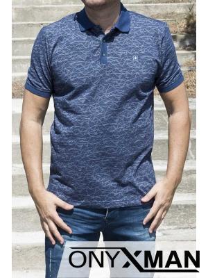 Тениска с яка в синьо с ромбове 150622