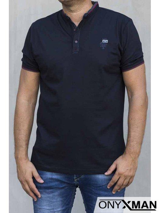 Стилна тениска в тъмно синьо 151063