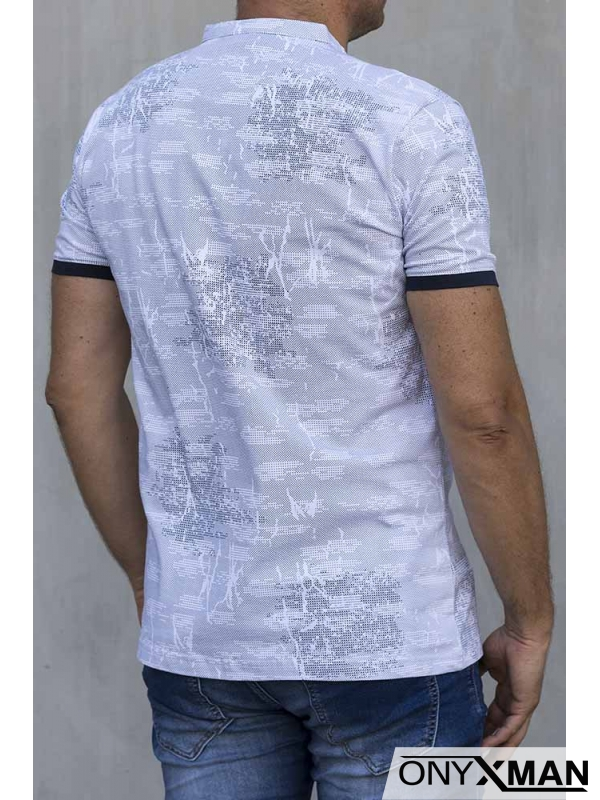 Мъжка тениска със столче яка 151141