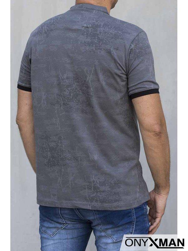 Мъжка тениска със столче яка 151143