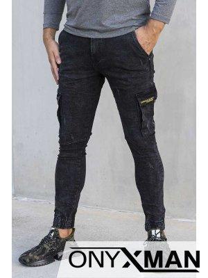 Черен карго дънков панталон 51032
