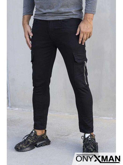Черен карго дънков панталон 51017