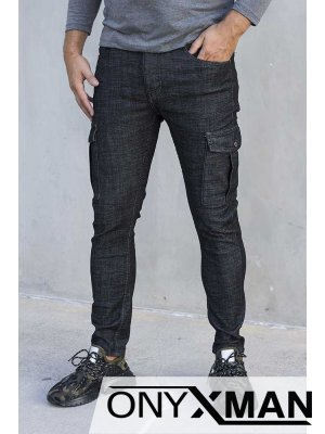 Сиво черни карго панталони 51018