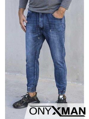 Синьо дънки с ластик и по-къса дължина 51034