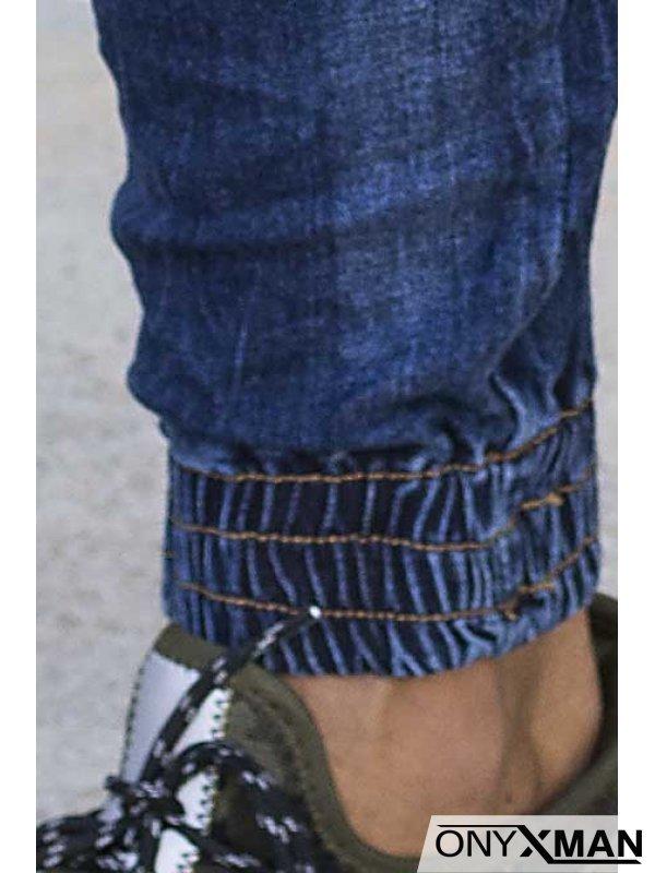 Слим фит синьо карго дънки 51027