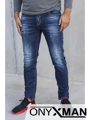 Дънки в синьо с кръпки 51026