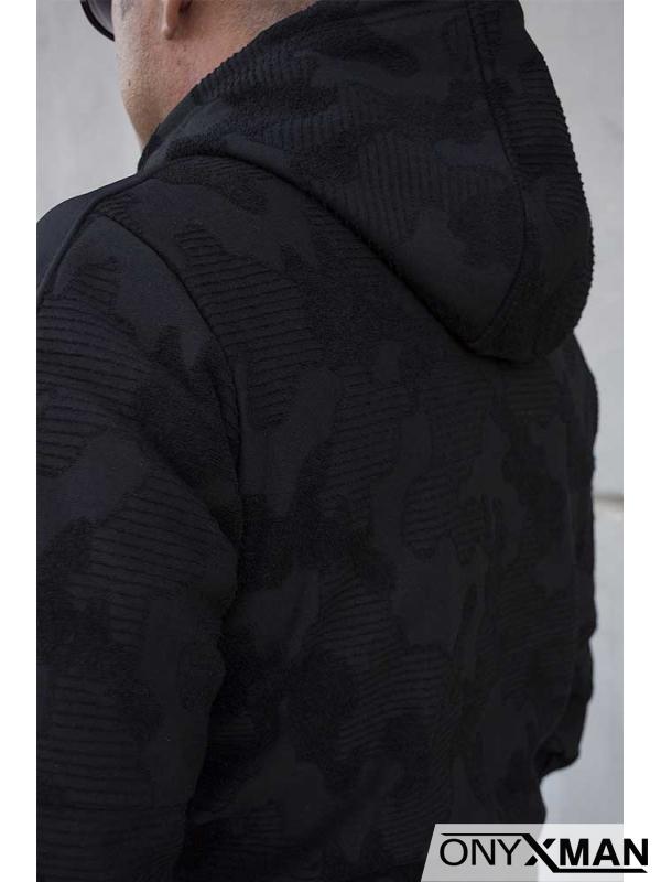 Мъжки суичър с цип и качулка 160131