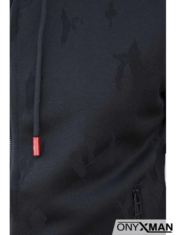 Черен суичър с цип и качулка 160051