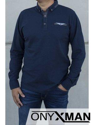 Блуза в синьо с яка и дълъг ръкав