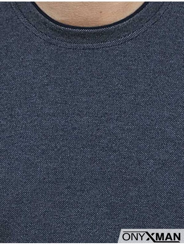Блуза меланж в тъмно синьо