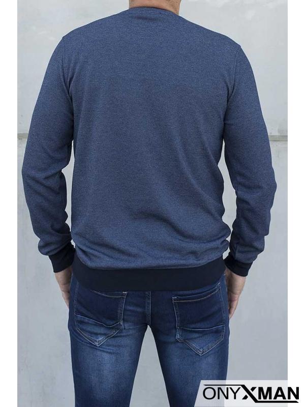 Блуза меланж в индиго син цвят