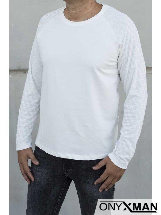 Бяла блуза с фигурални ръкави