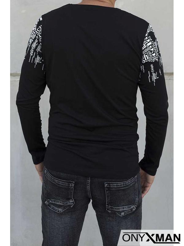 Черна блуза с бели надписи