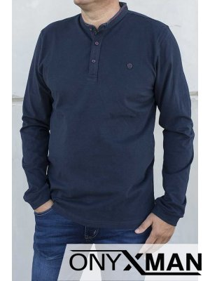 Стилна блуза в тъмно синьо 140213