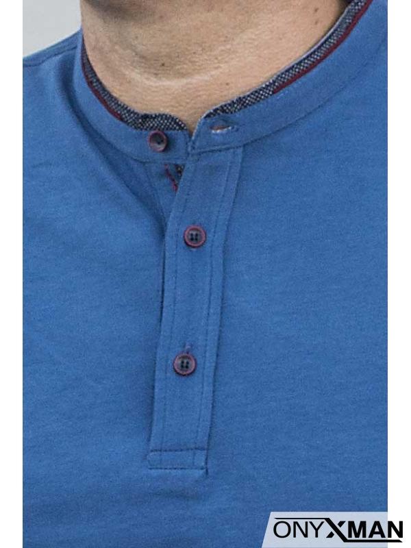 Стилна блуза в индиго син цвят 140214