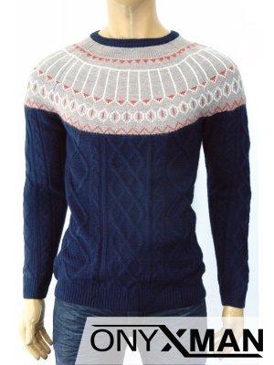 Модерен плетен мъжки пуловер