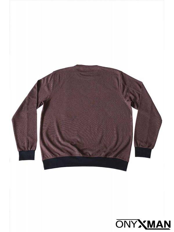 Стилна блуза с обло деколте в бордо