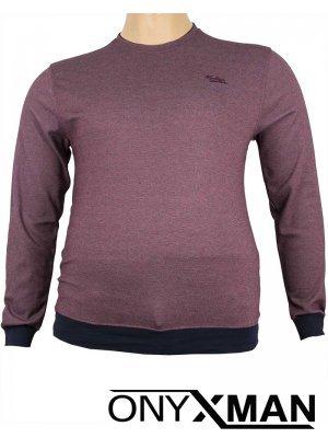 Стилна блуза с обло деколте в бордо Големи размери