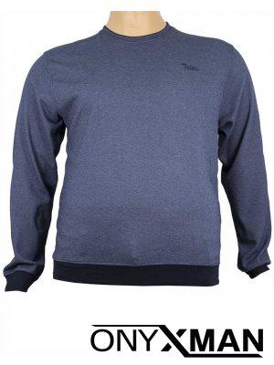 Стилна блуза с обло деколте в индиго синьо Големи размери