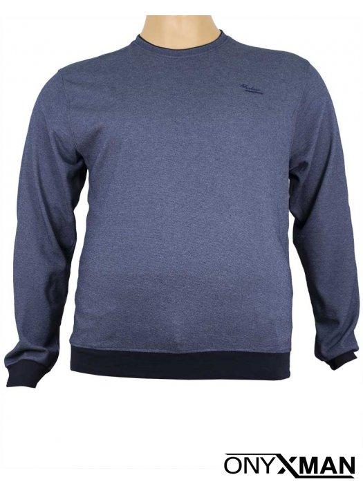 Стилна блуза с обло деколте в индиго синьо