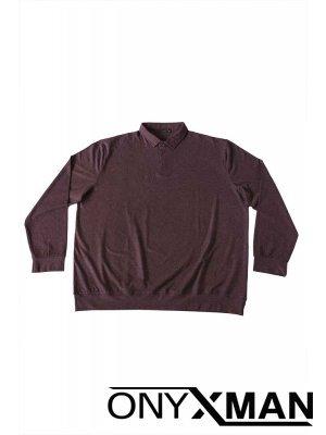 Блуза с яка и дълъг ръкав в бордо Големи размери