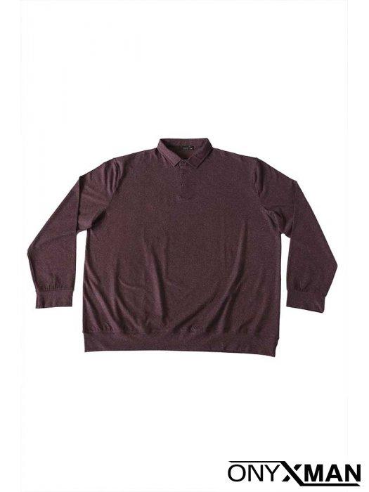 Макси блуза с яка и дълъг ръкав в бордо