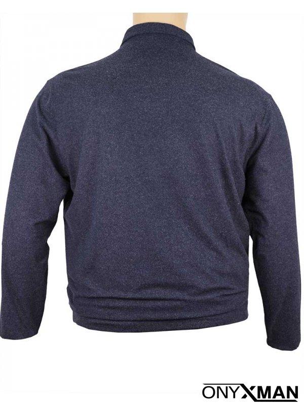Макси блуза с яка и дълъг ръкав в синьо