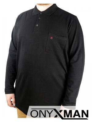 Блуза с яка и дълъг ръкав в синьо Големи размери
