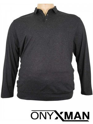 Блуза с яка и дълъг ръкав в черно Големи размери