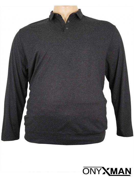 Макси блуза с яка и дълъг ръкав в черно