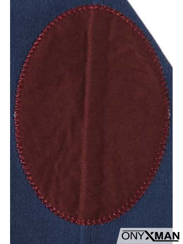 Ежедневна плътна блуза с кръпки на ръкавите Индиго