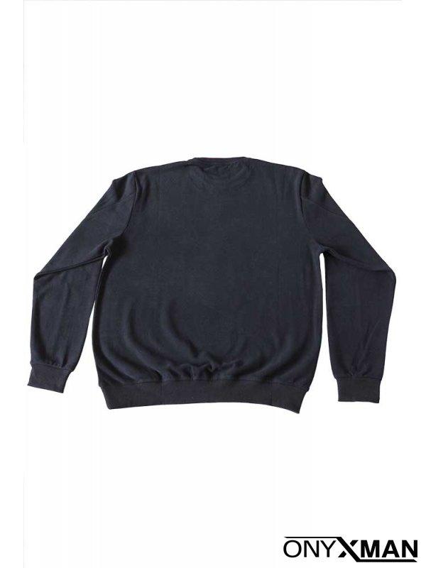 Ежедневна плътна блуза с кръпки на ръкавите Тъмно синьо