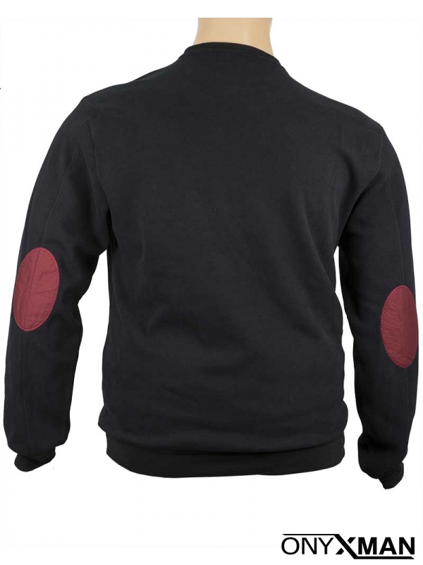 Ежедневна плътна блуза с кръпки на ръкавите Черно