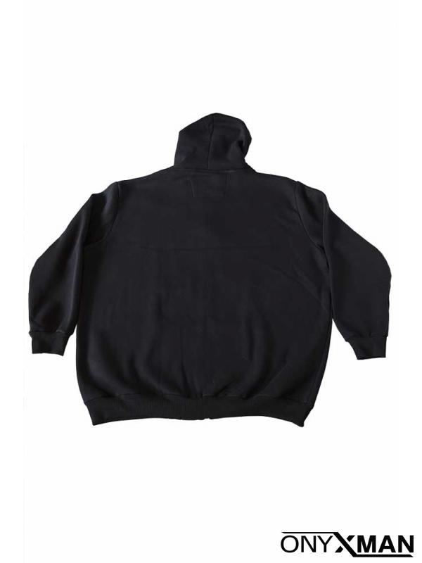 Суичър в черно с качулка Големи размери