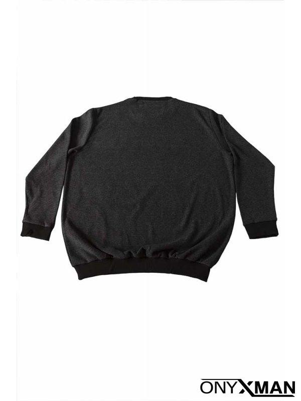 Блуза в черно райе Големи размери