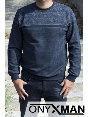 Класическа мъжка блуза в син цвят