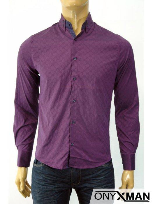 Стилна мъжка риза в бордо