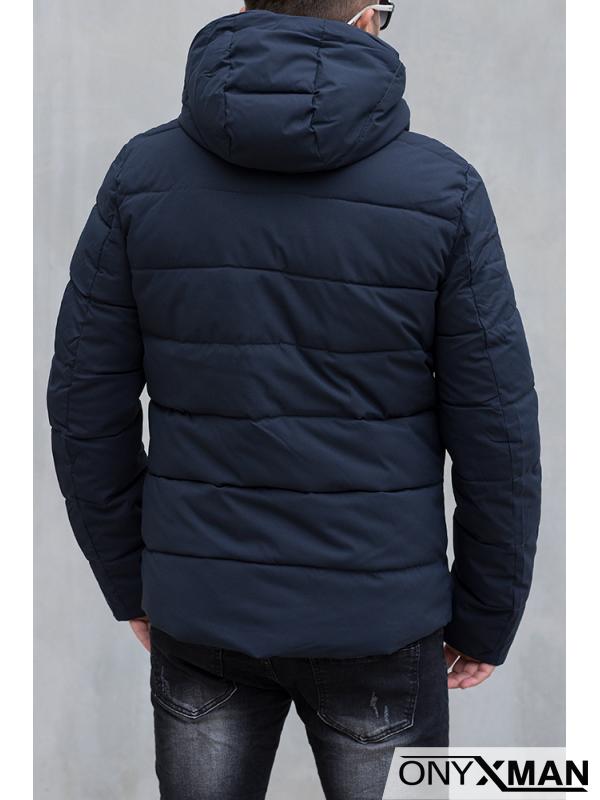 Зимно яке в синьо със светлоотразителни ленти