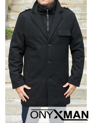 Спортно - елегантно палто в черен цвят