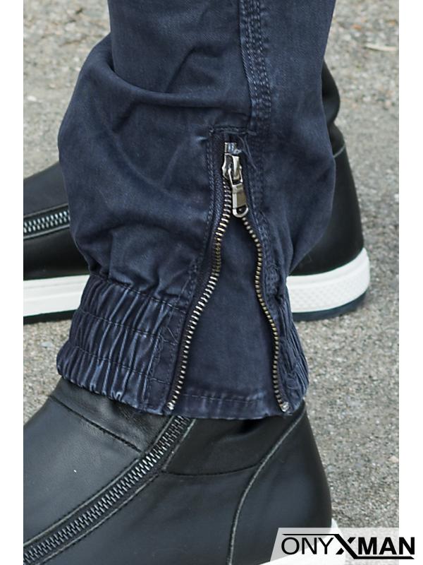 Син карго панталон с ципове